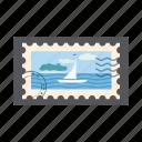 blue, postage, stamp, island, postal, marine, cartoon