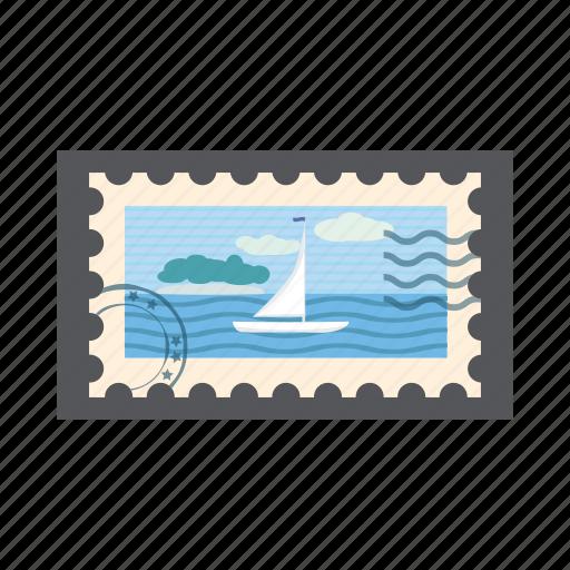 blue, cartoon, island, marine, postage, postal, stamp icon