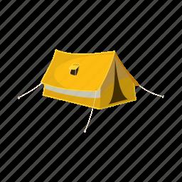 adventure, cartoon, outdoor, tent, tourist, travel, yellow icon
