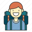 backpack, backpacker, holiday, travel, traveler icon