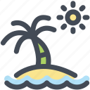 beach, holidays, island, ocean, palm tree, sun, travel icon