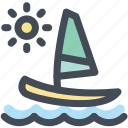 boat, holiday, sail, sailboat, sea, sun, travel icon