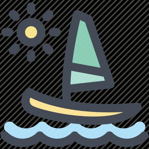 boat, holiday, sail, sailboat, sea, sun, travel icon