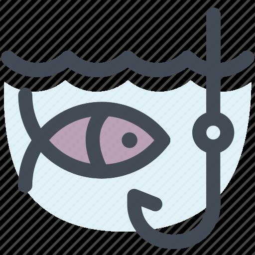 camping, fish, fishing, holiday, travel, water icon