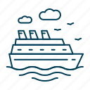 boat, cruise, liner, ship, vacation icon