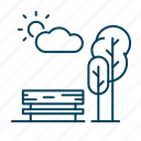 bench, nature, outdoors, park, trees icon