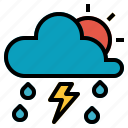 rain, sky, storm, sun, thunder, weather icon