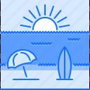 beach, holidays, sand, sun, surfboard, travel, umbrella icon