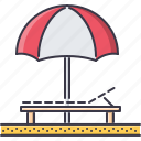 beach, holidays, lounger, sand, tour, travel, umbrella icon