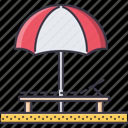 beach, holidays, lounger, sand, tour, travel, umbrella icon