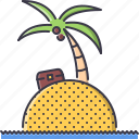 beach, chest, holidays, island, palm, sand, travel icon