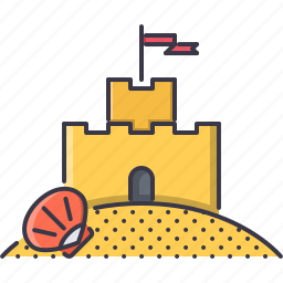 beach, castle, holidays, sand, shell, tour, travel icon