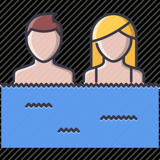 holidays, man, swim, swimming, travel, water, woman icon