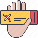 airplane, hand, holidays, ticket, tour, travel icon
