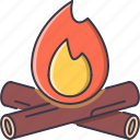 bonfire, camping, fire, firewood, holidays, tour, travel icon