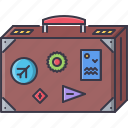 badge, baggage, case, holidays, sticker, tickets, tour icon