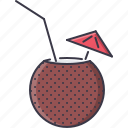 cocktail, coconut, holidays, tour, travel icon