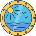 bird, holidays, porthole, ship, sun, travel, water icon