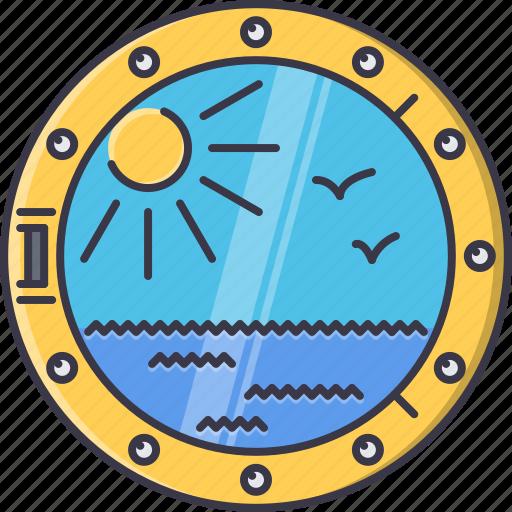 bird, holidays, porthole, ship, sun, travel, water icon