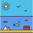bird, fish, holidays, sun, travel, undersea, water icon