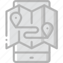 journey, map, mobile, tourist, transport, travel icon