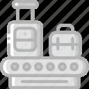 belt, conveyor, journey, luggage, tourist, transport, travel icon