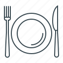 crockery, cutlery, dishes, fork, knife, restaurant icon