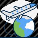 air, air journey, air travel, air trip, international flight, travel, world tour icon