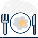 breakfast, cutlery, dine in, fork and knife, fried egg, silverware, tableware icon