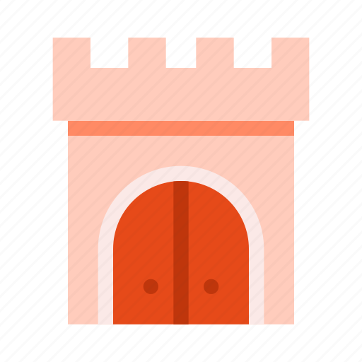 building, castle, gate, knight, tower icon