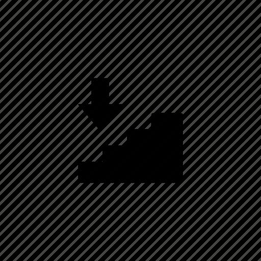 direction, down, orientation, strairs, travel icon