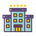 5 stars hotel, hotel, resort icon