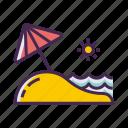 beach, ocean, sand, sea, sunny, waves icon