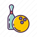 bowling, bowling ball, bowling pin icon