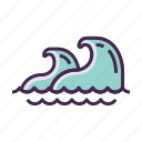beach, ocean, sea, tsunami, waves icon