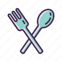 cutleries, cutlery, food, fork, meal, restaurant, spoon