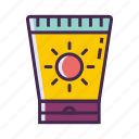 sun cream, sun lotion, sunblock, sunscreen icon
