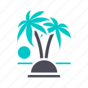 beach, palm trees, recreation, sun, sunset, travel, vacation icon