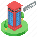call booth, callbox, phone booth, phone cabin, public booth, public phone