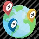 global travel, international flight, international travelling, travel destination, world tour, world travel icon