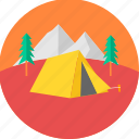 camp, camping, hill, mountain, outdoor, picnic, tent icon