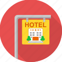 board, building, hotel, hotel sign, restaurant, sign icon
