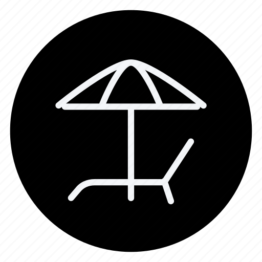 holiday, outdoor, sun umbrella, sunbed, tourism, travel, vacation icon