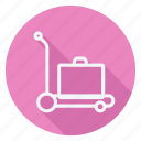 carrier, holiday, luggage, outdoor, tourism, travel, trolly icon