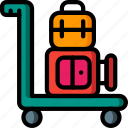 journey, luggage, tourist, transport, travel, trolley icon