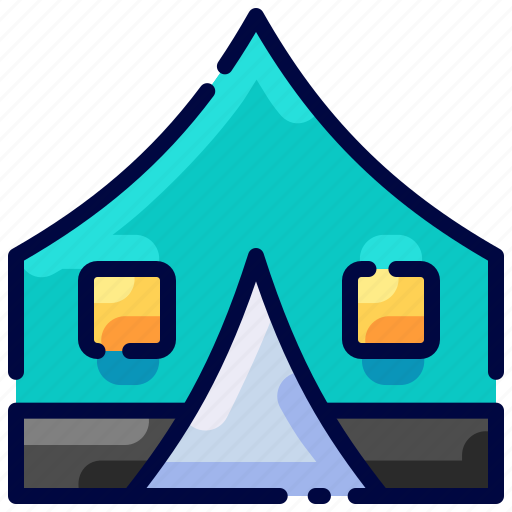 bukeicon, camp, camping, tent, traveling icon
