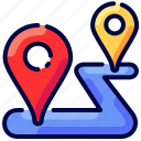 bukeicon, destination, location, pin, point, route, travel