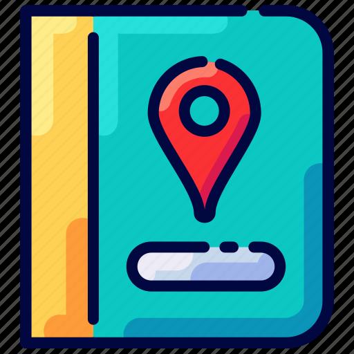 book, bukeicon, guide, pin, travel icon