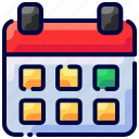 bukeicon, calendar, date, holidays, schedule, time, travel icon