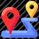 bukeicon, destination, location, pin, point, route, travel icon